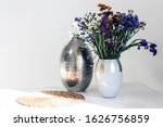 Bouquet Of Flowers  Metal Vase...