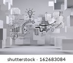 graphic on grey background with ... | Shutterstock . vector #162683084