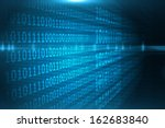 shiny blue binary code on black ... | Shutterstock . vector #162683840