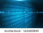 shiny blue binary code on black ... | Shutterstock . vector #162683840