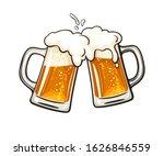 two toasting beer mugs  cheers. ... | Shutterstock .eps vector #1626846559