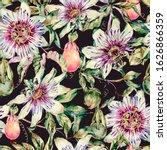 Watercolor Passiflora Seamless...