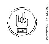 rock  lgbt icon. simple line ...