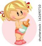 vector illustration of baby girl | Shutterstock .eps vector #162690710
