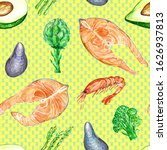 seamless pattern with seafood... | Shutterstock . vector #1626937813