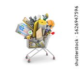 Shopping Cart With Heap Of...