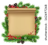 christmas wreath with old... | Shutterstock .eps vector #162697268