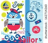 cute sailor owl vector... | Shutterstock .eps vector #162714260