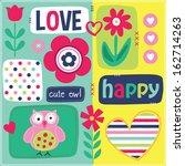 happy cute owl love vector... | Shutterstock .eps vector #162714263
