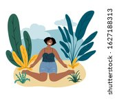 african happy woman sits on the ... | Shutterstock .eps vector #1627188313