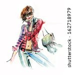 fashion young girl. watercolor  | Shutterstock . vector #162718979
