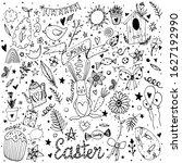 vector black line set of easter ... | Shutterstock .eps vector #1627192990