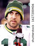 Small photo of East Rutherford, NJ - DEC 4: Green Bay Packers quarterback Aaron Rodgers (12) after the game against the New York Giants on December 4, 2011 at MetLife Stadium.