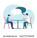 job interview concept. flat... | Shutterstock .eps vector #1627274443
