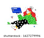 illustration of a girl with a... | Shutterstock .eps vector #1627279996