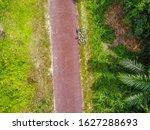Aerial View Of Bicycle On Rural ...