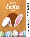 happy easter background with... | Shutterstock .eps vector #1627294909