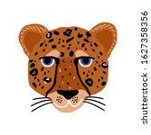 cartoon hand drawn cheetah head ... | Shutterstock .eps vector #1627358356
