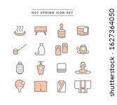 Hot Spring Line Icon Set