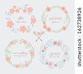romantic wedding set with cute... | Shutterstock .eps vector #162738926