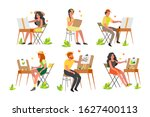 people painting outdoors. young ... | Shutterstock .eps vector #1627400113