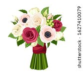 vector bouquet of red  pink and ... | Shutterstock .eps vector #1627410079