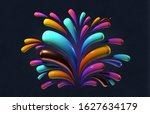 colorful splash with big drops...   Shutterstock . vector #1627634179