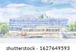 watercolor illustration: View from the eastern shore of the Maschsee to the facade of Hotel