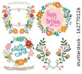 wedding graphic set with floral ... | Shutterstock .eps vector #162770126