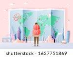 backpacker with various travel... | Shutterstock .eps vector #1627751869