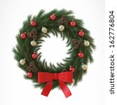 christmas wreath with baubles... | Shutterstock . vector #162776804