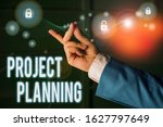 Small photo of Text sign showing Project Planning. Conceptual photo plan and subsequently report progress within the project.