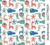 Stock vector african animal seamless pattern 162779819