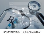 Small photo of Medical RX prescription and doctor's stethoscope