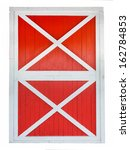 Red Barn Door Isolated On Whit...