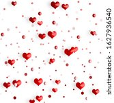 red hearts and drops on white...   Shutterstock . vector #1627936540