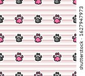 cute animal paw pad seamless... | Shutterstock .eps vector #1627947973