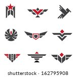 Army and military badges and strength logo icon symbols - stock vector
