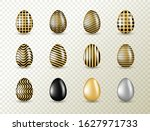 gold eggs collection with black ... | Shutterstock .eps vector #1627971733