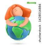 earth day icon. little girl... | Shutterstock .eps vector #1628016886