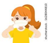 a cute girl wear medical mask.... | Shutterstock .eps vector #1628044810