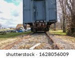 Back View Of A Blue Railroad...