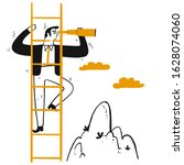 businessman leader climb stair... | Shutterstock .eps vector #1628074060
