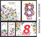 set of floral cards for your... | Shutterstock .eps vector #162813140