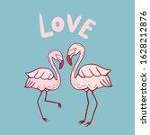 two flamingos. vector color...   Shutterstock .eps vector #1628212876