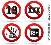 Adults only content button. XXX Vector sticker. Age limit stop sign. XXX adults only content icon. 18 years old. Prohibition symbol.