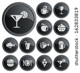 food and drink button set   Shutterstock .eps vector #162833819