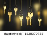 Shiny Gold Keys On Chains Over...