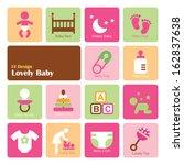 set baby girl icons  flat ui...