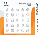 25 miscellaneous icon set. 100  ... | Shutterstock .eps vector #1628388640